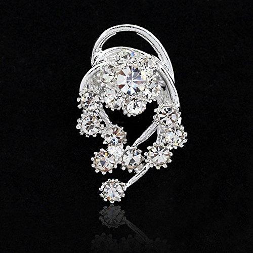 Mijn Droom Dag Elegante Zilver Kristal Glanzende Mode Mooie Broche Pins Backs Permanent Zilver Kristal Water Boren Kleine Jurk