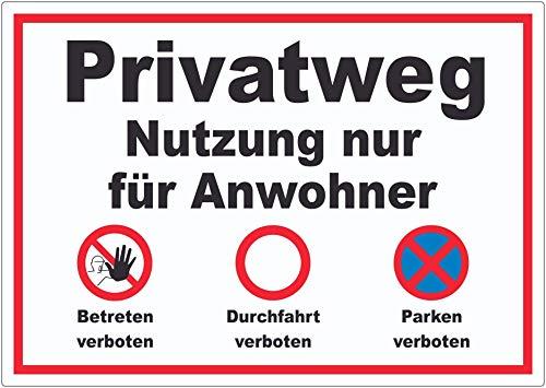 Privatweg Nutzung nur für Anwohner Aufkleber A8 (52x74mm)