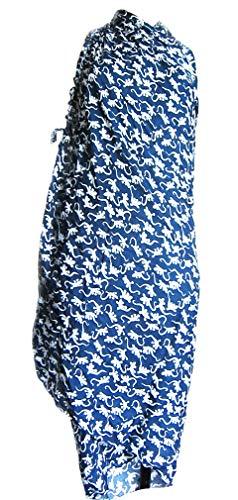 Hand- Gemalt Batik-Sarong Schal Strand-packung Vertuschen Pareo 180 cm blau/weiß Gecko Eidechse