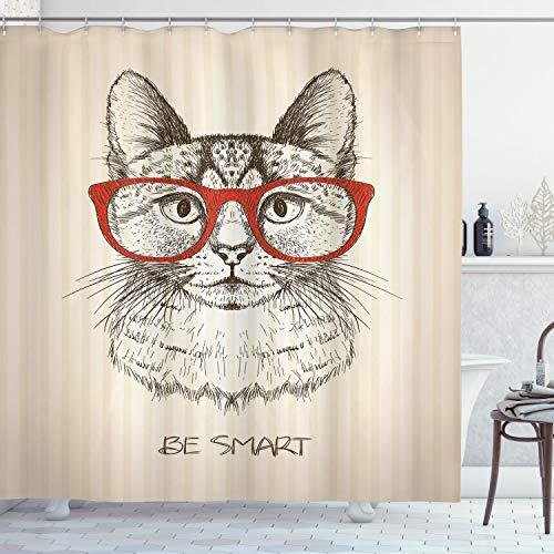 ABAKUHAUS Hipster Duschvorhang, Katze mit Retro Brillen, Seife Bakterie Schimmel und Wasser Resistent inkl. 12 Haken und Farbfest, 175 x 200 cm, Elfenbein Oliven Grünes Zinn