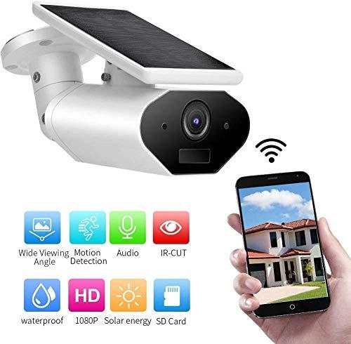 SHBUJ® -Cámara IP con Alimentación Solar, Cámara De Seguridad HD 1080P Wi-Fi para Exteriores con Batería, Soporte De Batería De Energía del Panel Solar, Amazon Alexa, Visión Nocturna