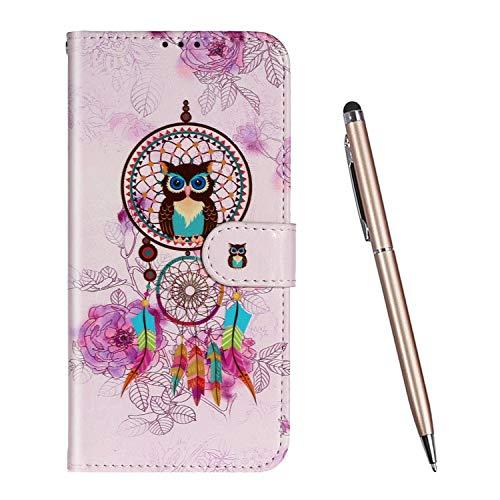 TOUCASA Funda Samsung Galaxy A71, PU Cuero Billetera Ranuras TPU Silicona Case Vistoso Lindo Animal Mariposa Flor Exquisita Pintura al óleo en Relieve Magnético Funda (Atrapasueños)