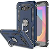 Galaxy J7 2015 Case,J7 NEO Case with HD Screen Protector (2Pack) KaiMai 360 Degree Rotating Ring & Bracket Dual Layers of Shockproof TPU and Solid PC Phone Case for Galaxy J7 J700 2015-Blue