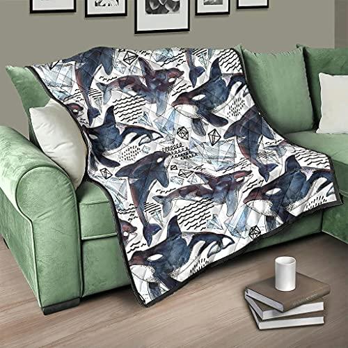 AXGM Colcha acolchada con diseño de ballena y cristal, 230 x 260 cm, color blanco