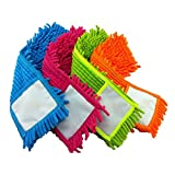 4 Pcs Microfiber Cleaning Mop Pad Refill Replacement Head Pads for Flat Removable Dust Flo...