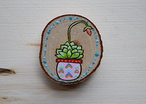 Wood Succulent Magnet