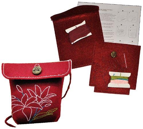 alles-meine.de GmbH Bastelset: für Filztasche -  Blumen & Blüten - weinrot  - zum Sticken, Nähen per Hand - Tragetasche Tasche mit Blumen Blüten grau Handarbeiten - Nähset