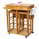 FCH Kitchen Island Trolley Cart with 2 Square Stools and 2 Drawers Solid Wood Drop Leaf Table Easy Put Together