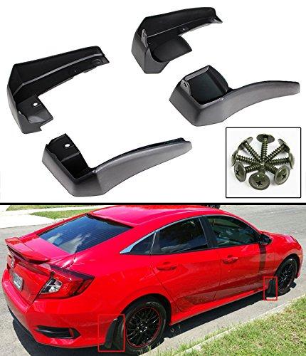 Cuztom Tuning 4 Pieces Set Front & Rear Mud Flap Splash Guards Compatible with 2016-2019 10TH Gen Honda Civic 4 Door Sedan