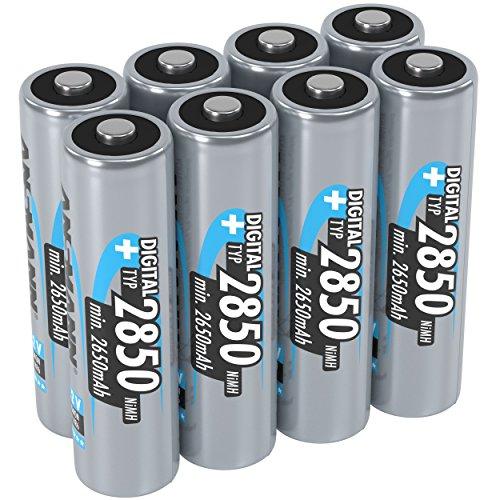 ANSMANN Akku AA Typ 2850mAh NiMH 1,2V - Mignon AA Batterien wiederaufladbar, mit hoher Kapazität ideal für hohen Strombedarf wie Taschenlampe, Controller, Kamera, Foto-Blitz (8 Stück)