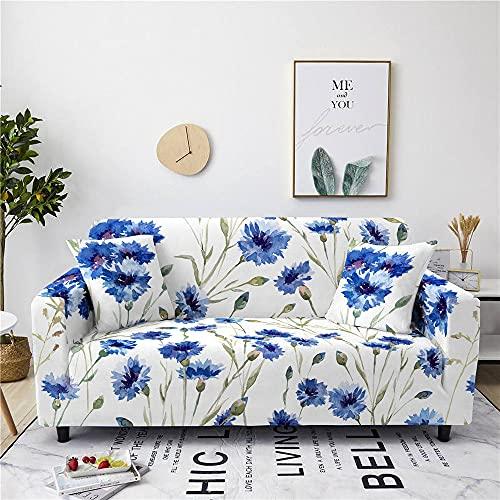 Sofaüberwürfe - Universal Stretch Fitted Flower Sofa Schonbezug - Abstract Blue Daisy Printed Stretch Sofa Cover Mit Elastischem Boden - Elastischem Polyester Rutschfeste Stoff - Couchbezüge Für