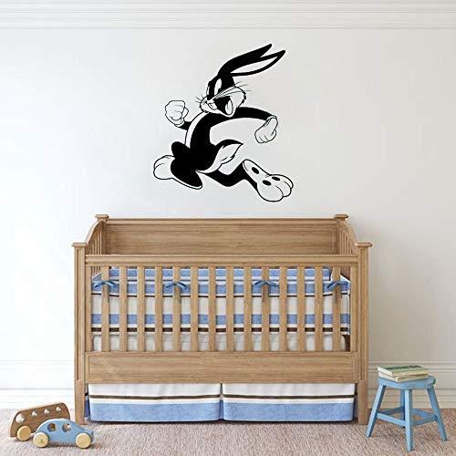 fancjj Bugs Bunny Tatuajes de Pared Habitación para niños Vivero Personajes Animados Pegatinas de Vinilo Decoración de Pared de Dibujos Animados Decoraciones de Arte Encantador