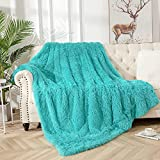Vasofe Fuzzy Blanket Sherpa Blankets Fluffy Soft Fuzzy Faux Fur Throw Blanket for Xmas Couch Sofa Photo Home Decor Plush Blanket Blue Bed Throw Size