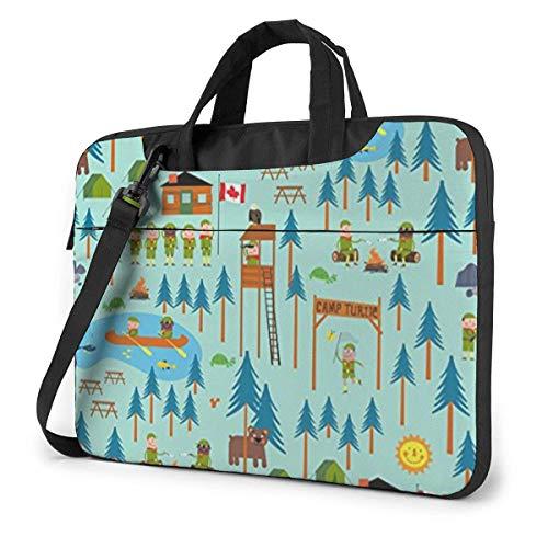 Canadian Forest Camp Laptop Sleeve Case 15.6 Inch Computer Tote Bag Shoulder Messenger Briefcase for Business Travel