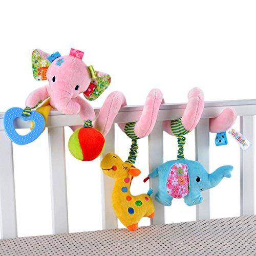 Happy Cherry Juguete Peluche Espiral de Actividades Sonajero con Sonidos Colgante Animales Elefante para Bebés Recién Nacidos Niños Carrito Cochecito Cuna