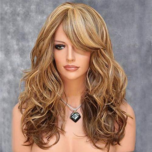 Novopus perruque: Femme Ondulation naturelle Blond Avec Frange Cheveux Synthétiques Balayées/Partie latérale Blond Perruque Moyen Sans bonnet Marron:Marron