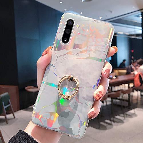 Kompatibel mit Samsung Galaxy Note 10 Hülle mit Ring Halter Ständer,Handyhülle Galaxy Note 10 Laser Marmor Muster Glänzend Glitzer Bling Weich Silikon Hülle Schutzhülle TPU Bumper Handytasche,Grau