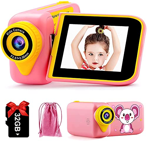 PROGRACE Kids Video Camera Girls Camcorder - Age 4 5 6 7 8 9 10 11 12 Years Old Toy Birthday Gift, Kids Camcorder Children's Toddler Camera Photographer Kids Digital Camera 1080P 12MP