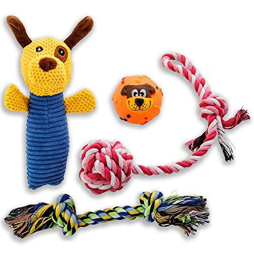 Golden Pets Lot de 4 jouets pour chien - Idéal pour les chiens de petite et moyenne taille - En fibres de coton naturel de qualité supérieure - Avec manuel d'entretien inclus