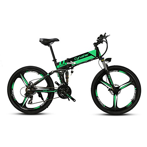 Bicicleta de montaña Flu-Green RD100 Cyrusher®, marco plegable de aluminio de 17pulgadas,...