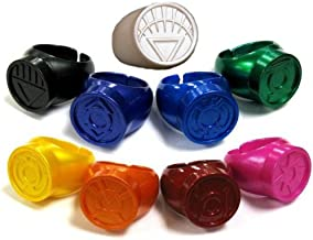 Green Lantern Blackest Night / Brightest Day Set of 9 Power Rings White/Red/Orange/Yellow/Green/Blue/Indigo/Violet/Black by DC Comics