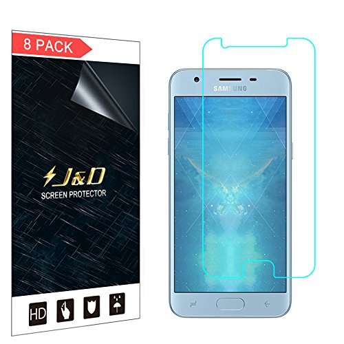 J&D Compatible for Samsung Galaxy J3 2018/J3 V 3rd Gen/J3 Achieve/J3 Star/Amp Prime 3 Screen Protector (8-Pack), Not Full Coverage, HD Clear Protective Film Shield Screen Protector