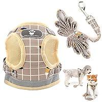 WiseLight プルなし 猫用ハーネスとリーシュセット 調節可能な反射ペットベスト通気性メッシュパッド入りチェック柄エスケーププルーフ犬用ハーネス屋外ウォーキングトレーニング用(カーキ、ラージ)