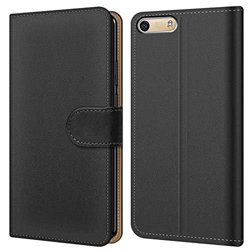 Conie BW8067 Basic Wallet Kompatibel mit Huawei G6, Booklet PU Leder Hülle Tasche mit Kartenfächer & Aufstellfunktion für G6 Hülle Schwarz
