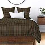 Roostery Duvet Cover, Plaid Masculine Texture Print, 100% Cotton Sateen Duvet Cover, King