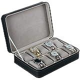 JIAJBG Caja de almacenamiento de reloj de cuero con cierre para reloj, caja de almacenamiento de 10 ranuras, color negro para regalo de cumpleaños, negro / 33 x 20 x 7,5 cm