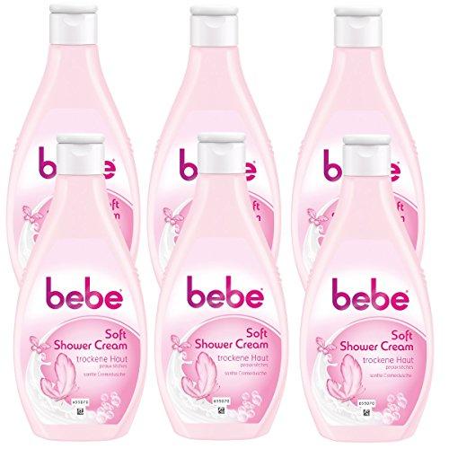 bebe Soft Shower Cream - Cremedusche für normale bis empfindliche Haut - Cremiger Schaum und sanfter Duft - 6 x 250ml