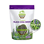 Wunder Basket Organic Chia Seeds, Natural Raw Black Chia Seed Packed with Omega 3, Fiber, Protein, Vitamins, Minerals & Antioxidants, USDA Certified, Non-Gmo, Gluten-Free, Vegan, Keto-Friendly (3 lb)