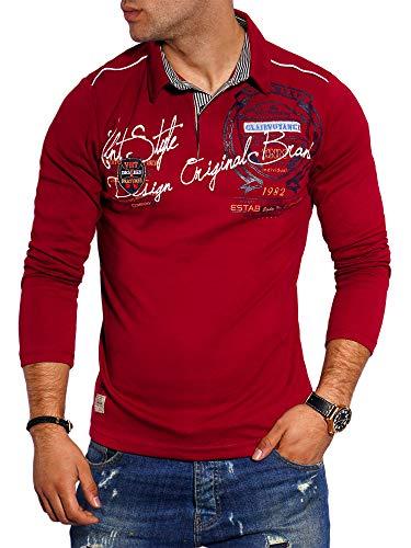 behype. Herren Langarm Polo-Shirt Longsleeve Polo-Hemd 20-6028 Weinrot XL