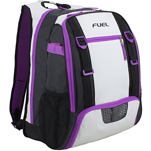 Fuel Multi-Sport Backpack (for gym, baseball, basketball, football, soccer, volleyball, tennis, and yoga) (Purple/White)