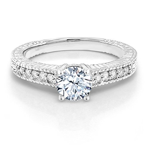 Gem Stone King 925 Sterling Silver Hearts And Arrows White Created Sapphire Women's Engagement Ring (1.35 cttw Round Cut, Available in size 5, 6, 7, 8, 9)