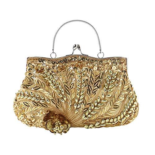 JIAGU Bolso de Fiesta Clásico Moldeada Hecha a Mano del Bolso del Banquete Personalizado Lentejuelas Embrague (Color : Gold, Size : 30cm x 16cm)
