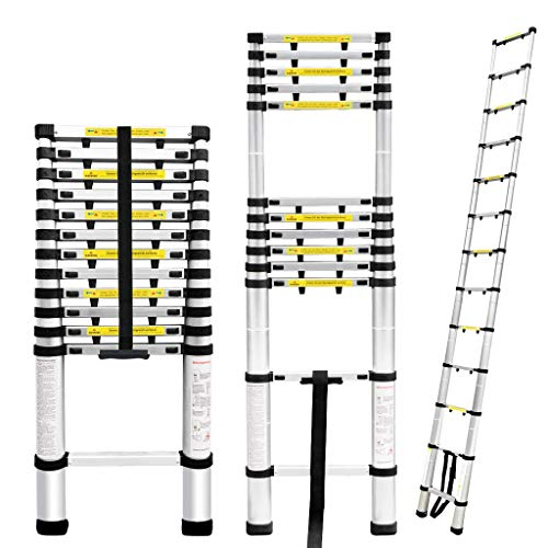 Finether 16.4ft Aluminum Telescoping Extension Ladder, Portable Telescopic Ladder Certificated by EN...