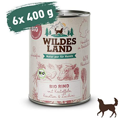 Wildes Land   Nassfutter für Hunde   Bio Rind   6 x 400 g   Getreidefrei & Hypoallergen   Extra hoher Fleischanteil von 60%   100% zertifizierte Bio-Zutaten   Beste Akzeptanz und Verträglichkeit
