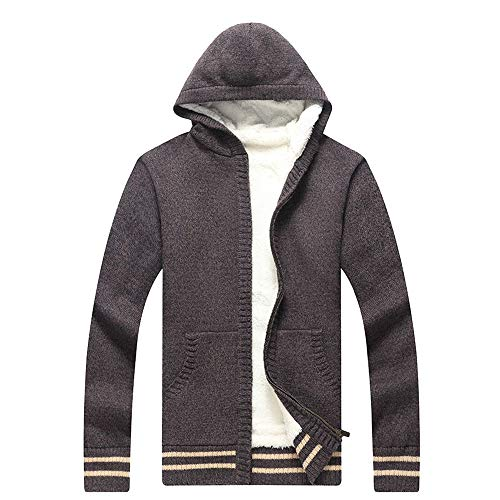 Aiserkly Herren Strickjacke Mantel Knitted Cardigan Warme Kapuzensweater Kapuzenpullover Kapuzen-Sweatshirt Hoodie Mantel T-Shirt Outwear Kaffee M