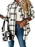 NDCATHE Abrigo de guisante con estilo suelto para mujer, camisa a cuadros con bolsillos