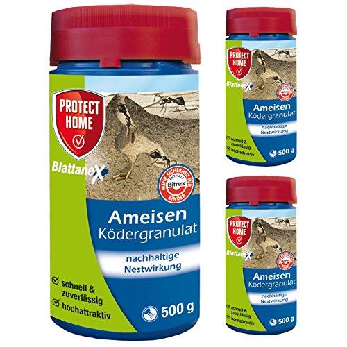 SBM Protect Home Sparpaket: 3 x 500g Blattanex Ameisen Ködergranulat zur Nestbehandlung (ehem. Bayer) + Gardopia Zeckenzange mit Lupe
