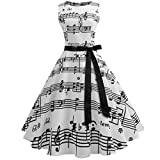Wellwits Women's Boat Neck Sash Tie Music Note Print Midi Fall Swing Dress S