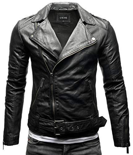 Crone Fynn Herren Lederjacke Basic Biker Jacke mit Gürtel aus weichem Rindsleder (M, Heavy Washed Black (Rindsleder))