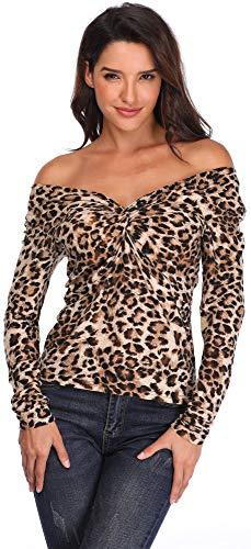 Las Mujeres de Leopardo Tapas de impresión Frente Torcido V-Cuello Camisa Mangas largas Mujeres túnica Slim Fit Nudo Busto-XL