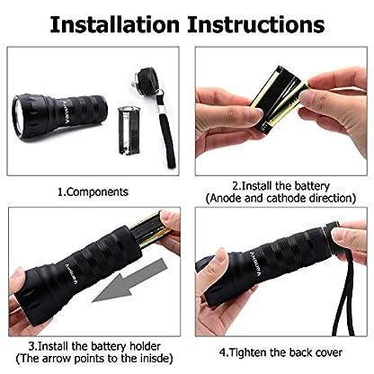 Vansky UV Torch 21 LEDs, UV Flashlight Black Light for Pet Urine Detection, Blacklight Detector for Dog Urine, Pet Stains, Bed Bug on Carpet/Rugs【3 x AAA Batteries Included】 6