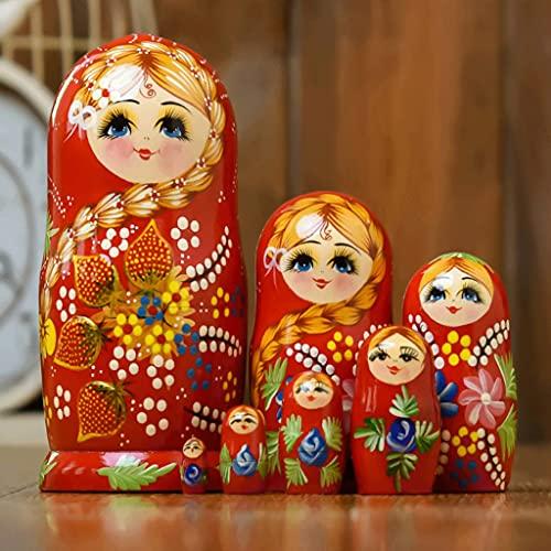HNMY Rusia Matryoshka 7-Capa Nesting Doll Creative Strawberry Matryoshka Muñeca Juguetes para niños (Color : Red)