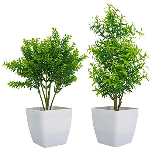 Ashiner - 2 plantas pequeñas artificiales para decoración de interiores, plantas de plástico con hojas verdes en macetas, plantas falsas para el hogar, la oficina y la habitación