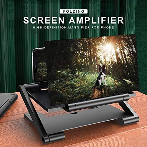 DAXGD Amplificatore per Telefono con Schermo 3D, Lente d Ingrandimento per Schermo 3D Pieghevole da 8 Pollici per Telefono Cellulare, Supporto per Amplificatore per Cellulare