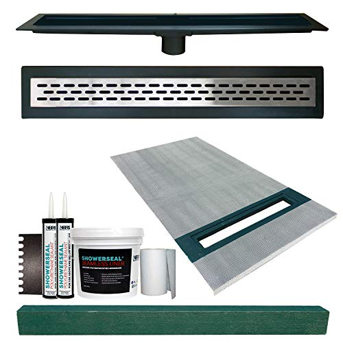 36' x 60' Linear Shower Slope Kit Right with Drain and Stainless Steel Oval Style Linear Drain, Includes Waterproofing Accessory Kit, and 4' x 4' x 61' Shower Curb | Cut-to-Fit in The Field