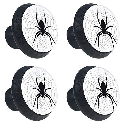 4 Pieces Set Cabinets Hardware Round Furniture Knobs Spider Print,Drawer Dresser Cupboard Wardrobe Pulls Handles for Home Kitchen